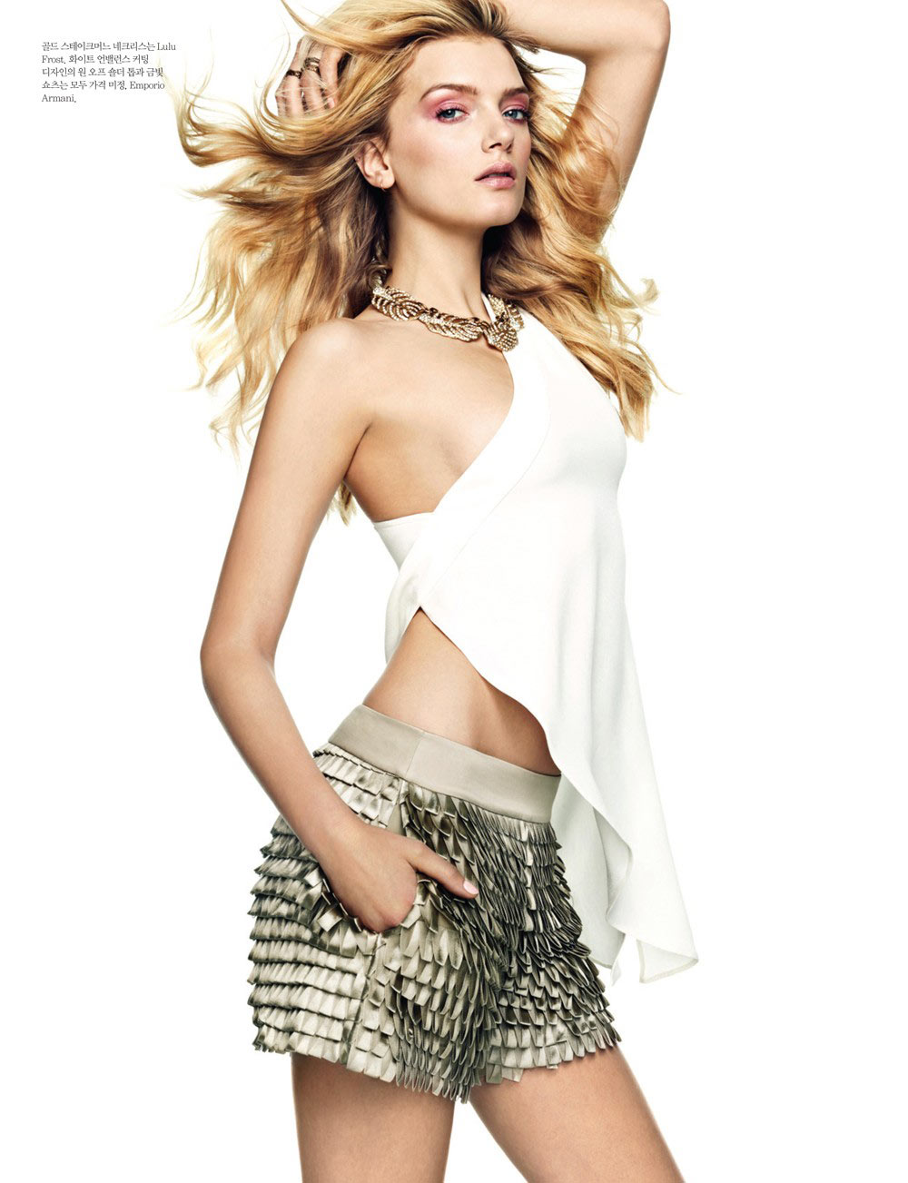 Lily Donaldson Rocks Emporio Armani for Elle Korea's April 2013 Cover Story