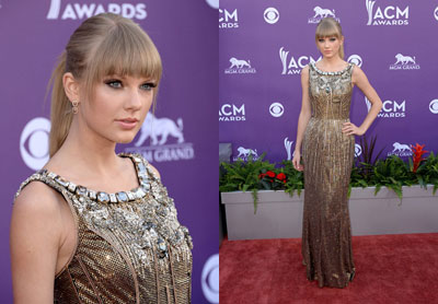 Taylor Swift Shines in Dolce & Gabbana at the 48th Annual Academy of Country Music Awards
