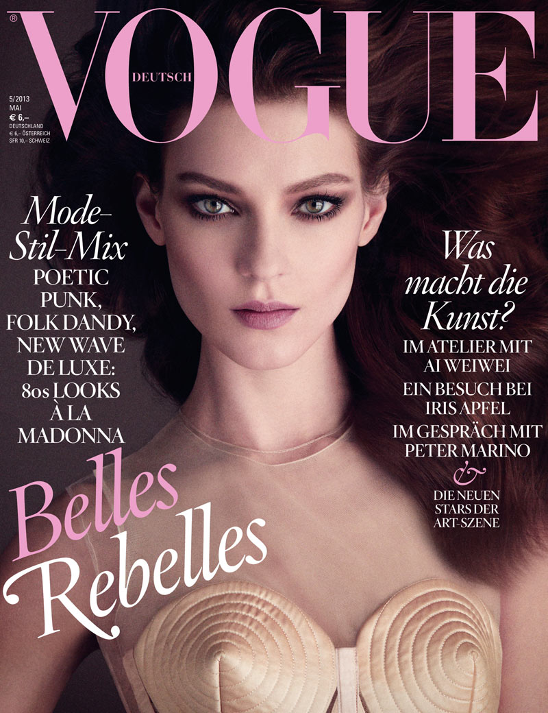 Kati Nescher Stuns in Jean Paul Gaultier for Vogue Germany's May 2013 Cover