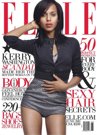 Kerry Washington Sports Marc Jacobs for Elle US' June 2013 Cover