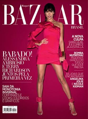 A Gucci Clad Alessandra Ambrosio Covers Harper's Bazaar Brazil June 2013