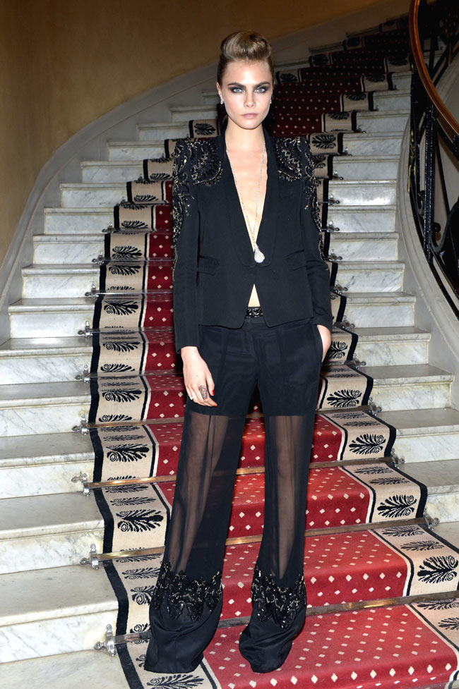 Cara Delevingne Suits Up in Roberto Cavalli at the Chopard Trophy Event in Cannes