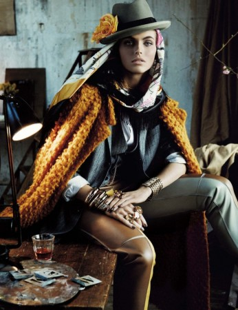 Karlina Caune Dons Folk Fashion for Vogue Germany May 2013 by Giampaolo Sgura