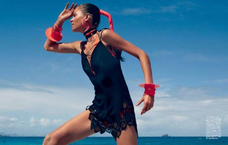 Magdalena Langrova Gets Active for Vogue Japan July 2013 by Patrick Demarchelier
