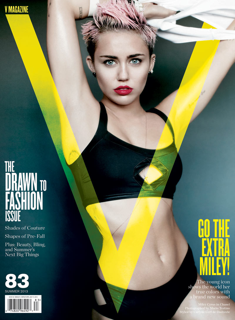 miley cyrus v magazine2 Miley Cyrus Lays on Stuffed Animals, Poses for Karl Lagerfeld on V #91 Cover