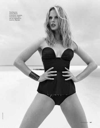 Anne Vyalitsyna Sports Monochromatic Swim for Elle Russia by Asa Tallgard