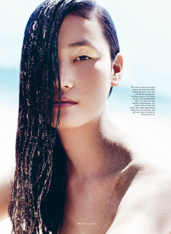 Lina Zhang is Sunkissed for Elle Vietnam July 2013 by Stockton Johnson