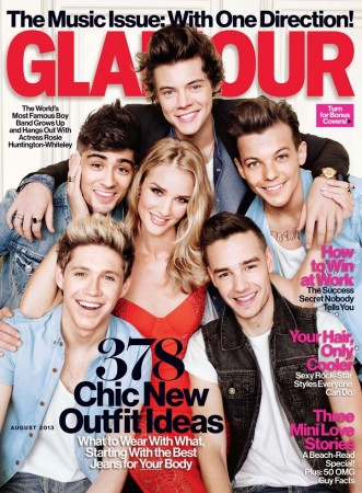 Rosie Huntington-Whiteley Joins the Boys of One Direction for Glamour August 2013 Cover