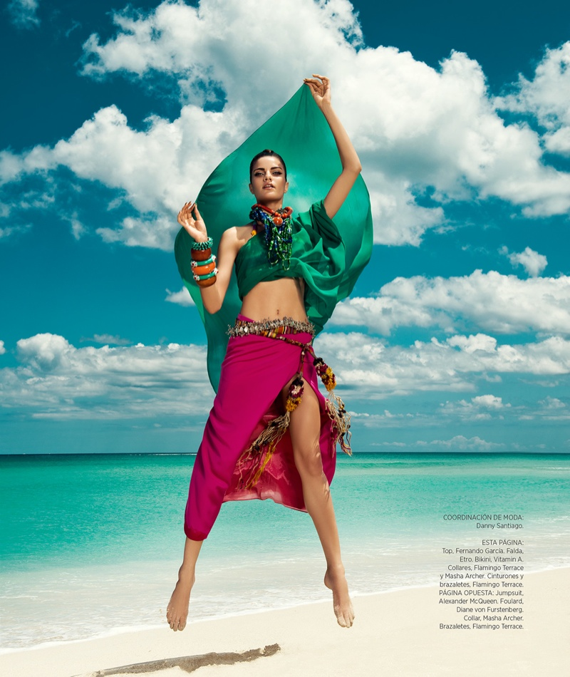 DannyCardozo BarbaraFialho HB July2013 03 Barbara Fialho Models Beach Style for Harpers Bazaar Mexico by Danny Cardozo