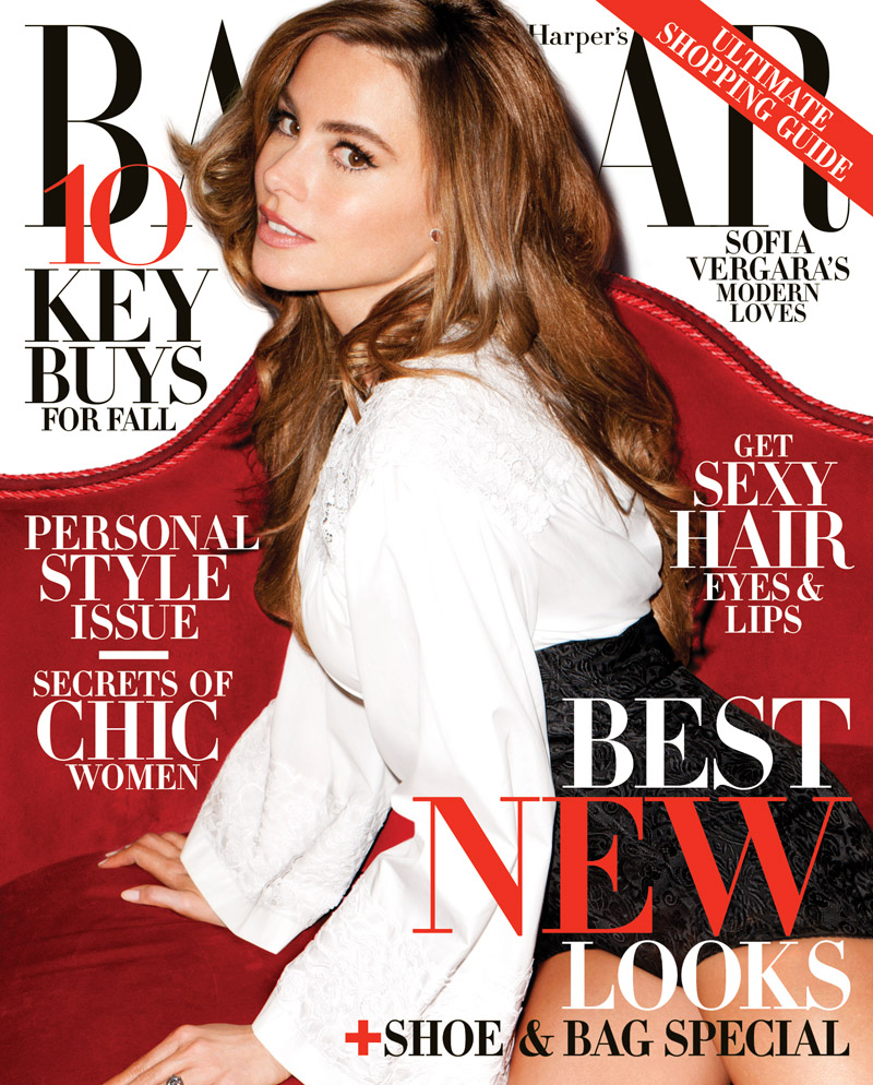 HBZ Sofia Vergara cover Sofia Vergara Lands Harpers Bazaar US August 2013 Cover