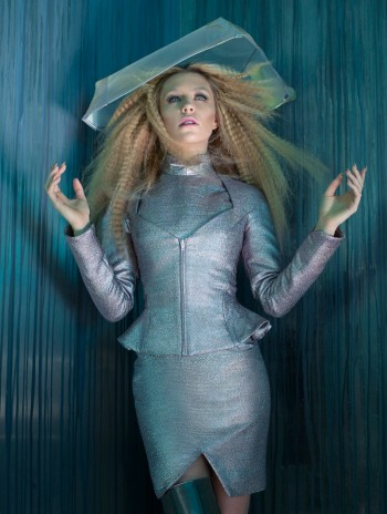 Abbey Clancy Sports Sci-Fi Style for Hasan Hejazi Collaboration