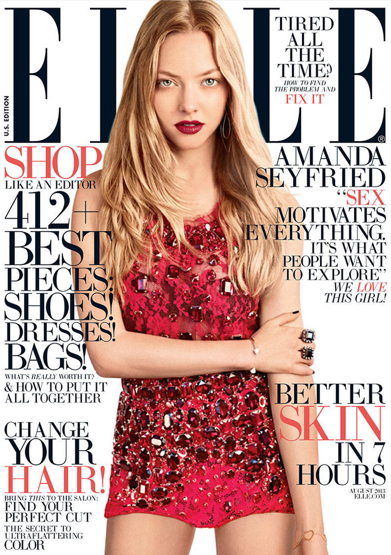 amanda elle cover1 Amanda Seyfried Shines on Elle US August 2013 Cover in Dolce & Gabbana