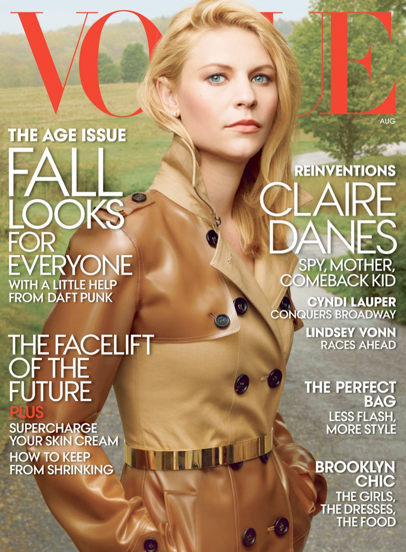 claire danes vogue1 Claire Danes Fronts Vogue US August 2013 Cover in Burberry
