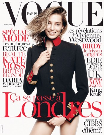 Daria Werbowy Graces Vogue Paris August 2013 Cover in Ralph Lauren