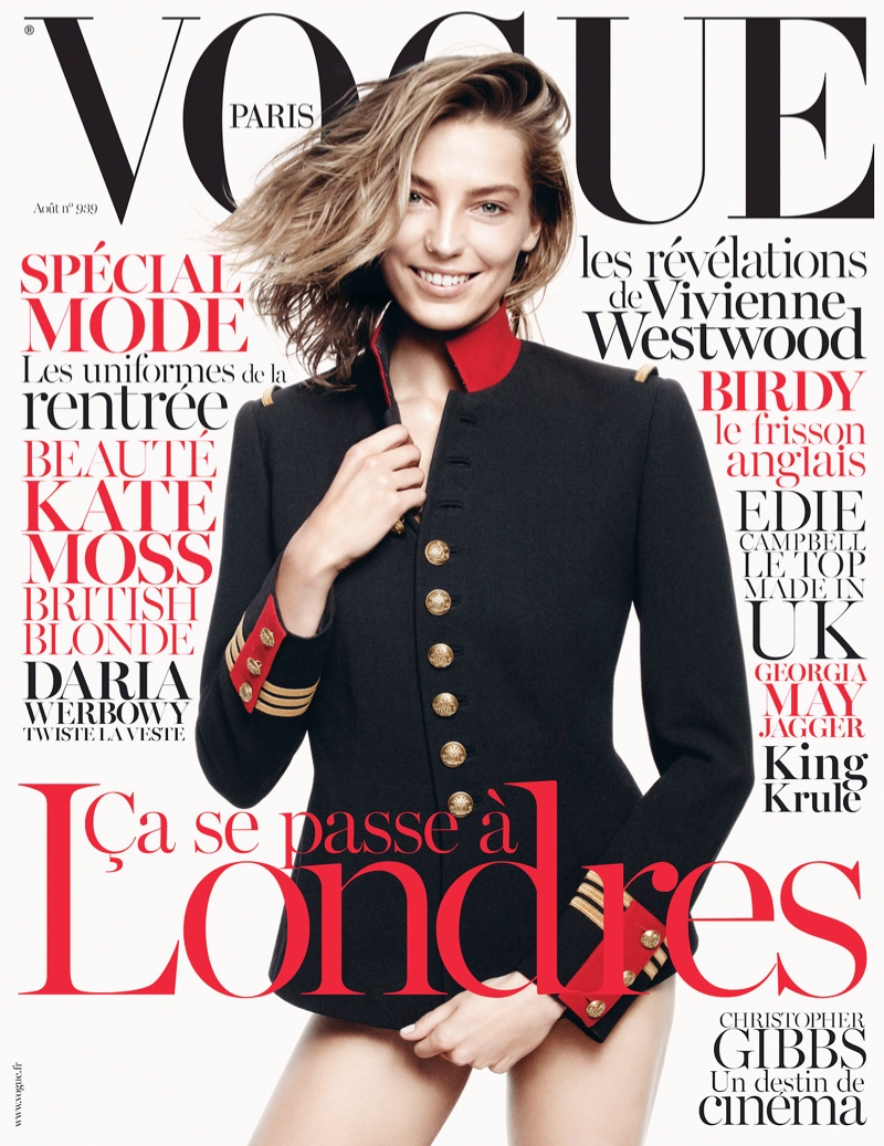 daria vogue cover Daria Werbowy Graces Vogue Paris August 2013 Cover in Ralph Lauren