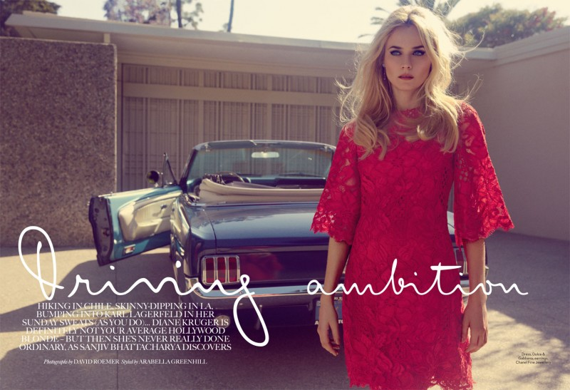 diane kruger david roemer2 800x547 Diane Kruger is Retro Chic for Marie Claire UK August 2013 by David Roemer