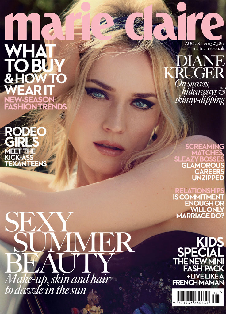 diane kruger david roemer7 Diane Kruger is Retro Chic for Marie Claire UK August 2013 by David Roemer