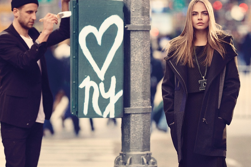 dkny fall cara ads11 Cara Delevingne Explores the City for DKNY Fall 2013 Campaign