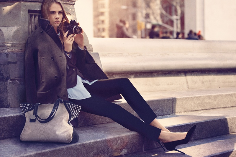 dkny fall cara ads12 Cara Delevingne Explores the City for DKNY Fall 2013 Campaign