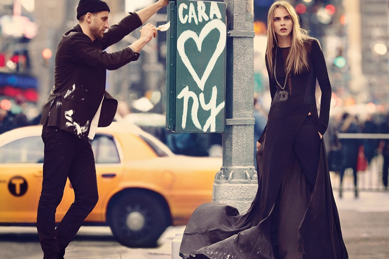 dkny fall cara ads15 Cara Delevingne Explores the City for DKNY Fall 2013 Campaign