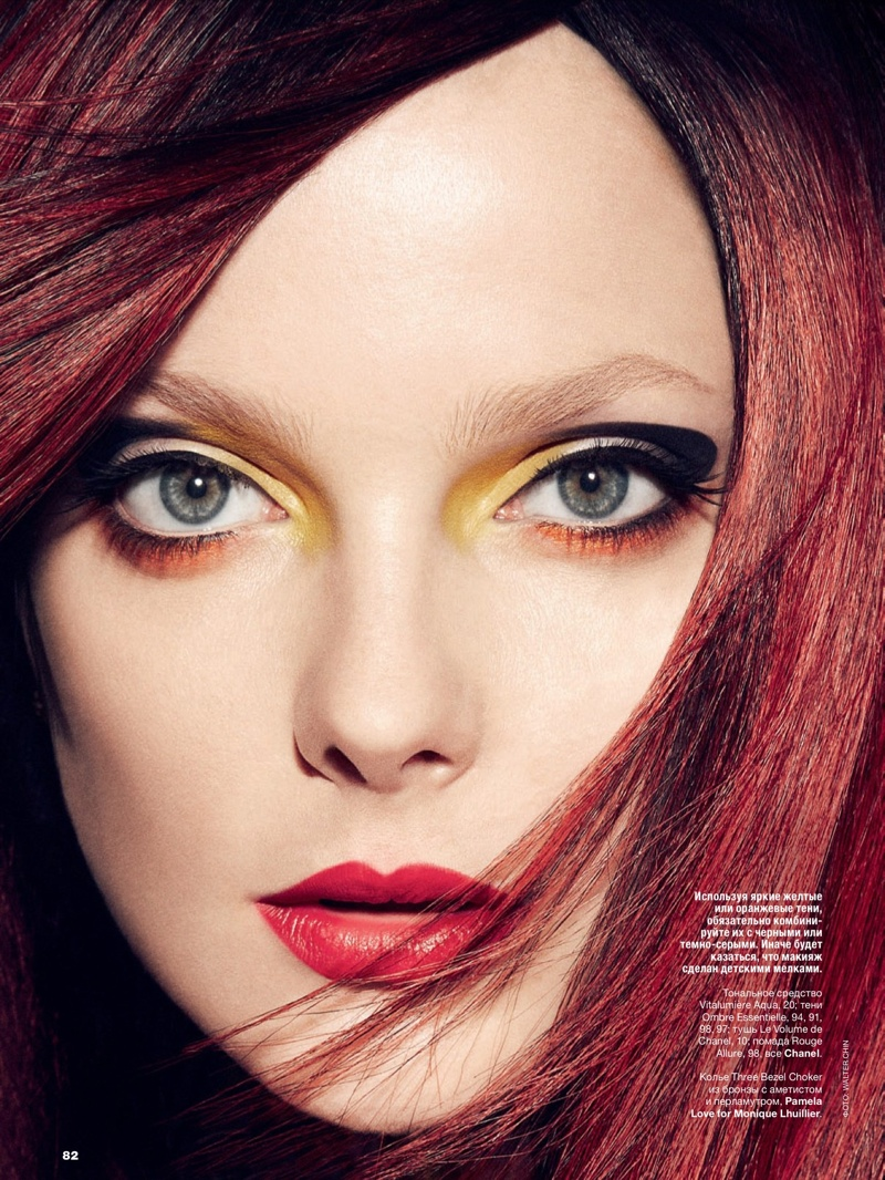 eniko mihalik beauty shoot2 Eniko Mihalik Models Glam Beauty for Allure Russia August 2013 by Walter Chin
