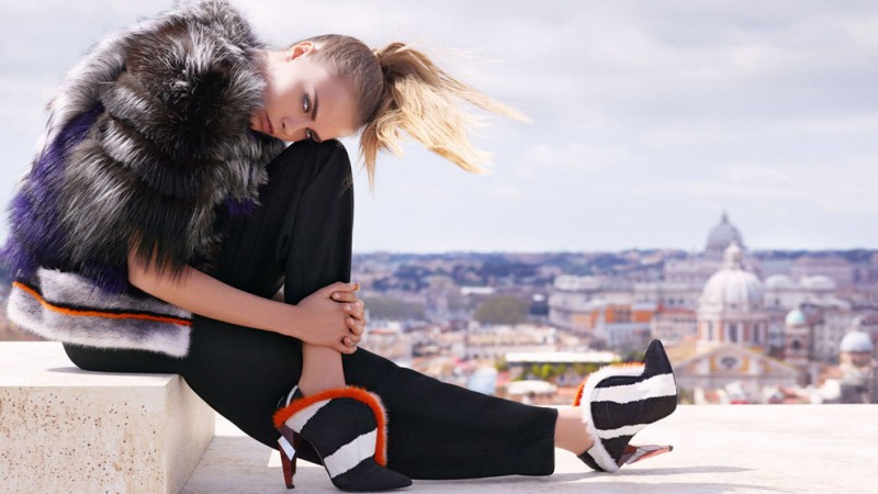 fendi fall winter ads5 800x450 Fendi Taps Cara Delevingne and Saskia de Brauw for Fall 2013 Ads