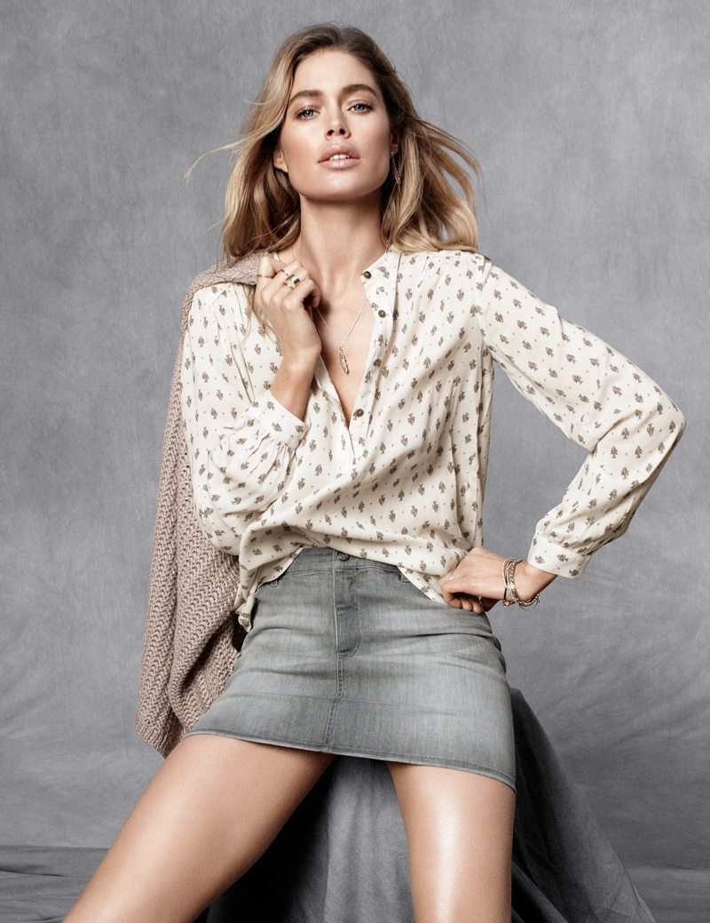 hm fall doutzen1 Doutzen Kroes Stars in H&M Fall Trend Update