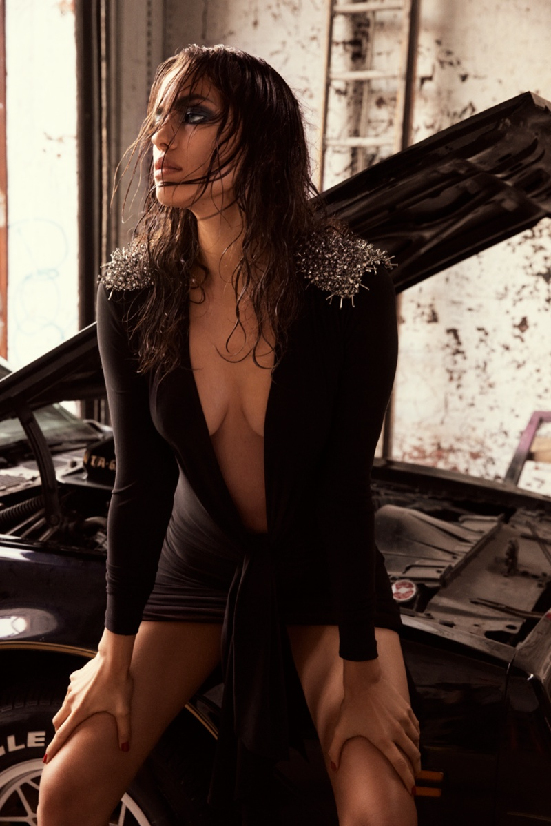 irina shayk gq russia1 Irina Shayk is Sexy in Black for GQ Russia August 2013 by David Roemer