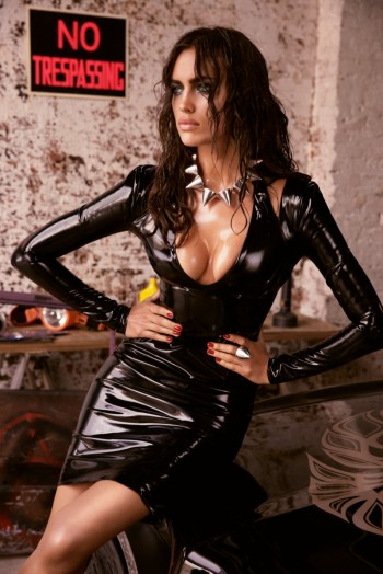 Irina Shayk is Sexy in Black for GQ Russia August 2013 by David Roemer