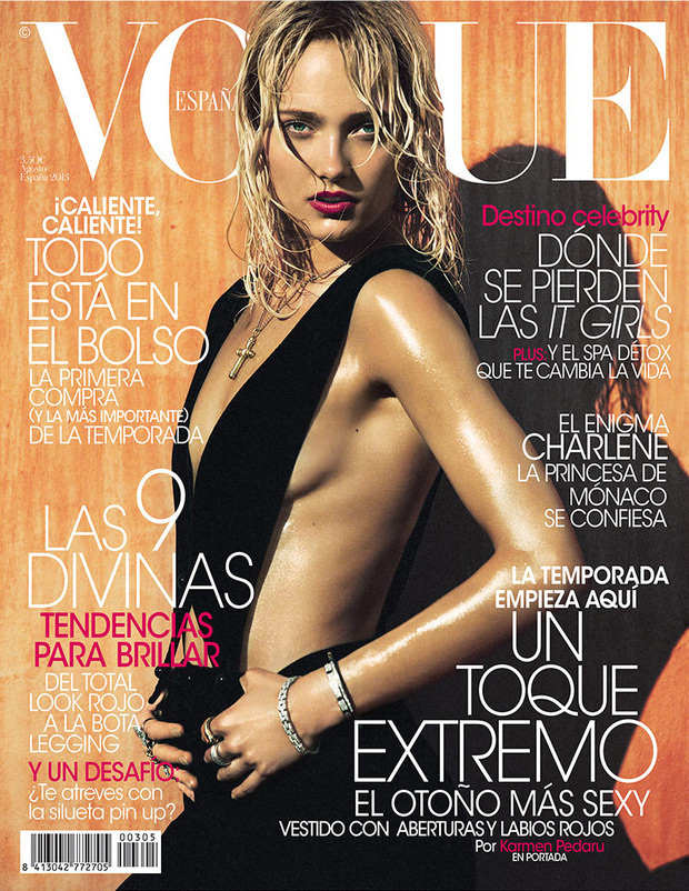 karmen vogue spain cover Karmen Pedaru Goes Blonde for Vogue Spain August 2013 Cover
