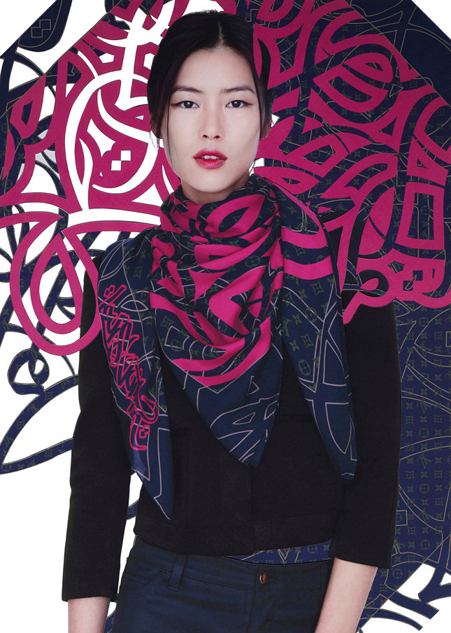 liu wen lv scarves11 Liu Wen Models Louis Vuitton x Street Artists Scarves Collaboration
