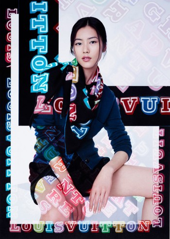 Liu Wen Models Louis Vuitton x Street Artists Scarves Collaboration