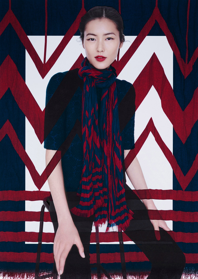 liu wen lv scarves8 Liu Wen Models Louis Vuitton x Street Artists Scarves Collaboration