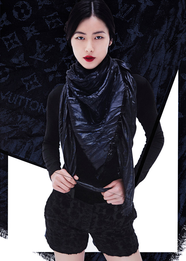 liu wen lv scarves9 Liu Wen Models Louis Vuitton x Street Artists Scarves Collaboration
