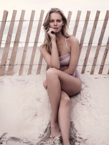 Marloes Horst Models Swimwear Looks for Harper's Bazaar UK by David Slijper
