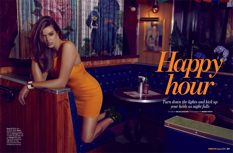 robyn happy hour1 Robyn Lawley Enjoys the Night Life for Cosmopolitan Australia August 2013