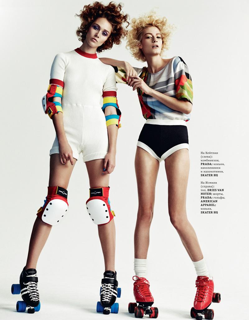 Caitlin Lomax and Ismini Are Roller Girls for Elle Ukraine by Tim Ashton