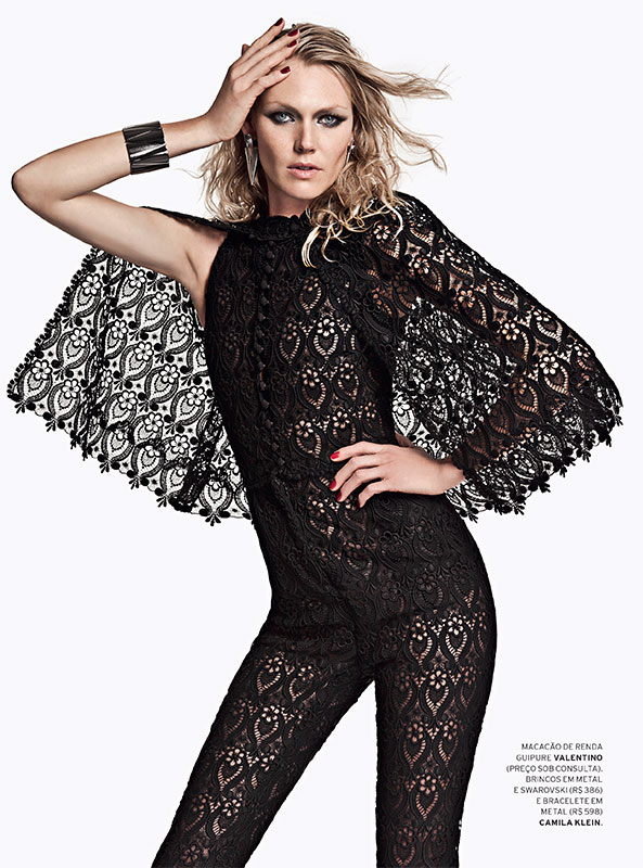 shirley mallmann lofficiel brasil1 Shirley Mallmann Gets Rocker Chic for LOfficiel Brazils August Issue