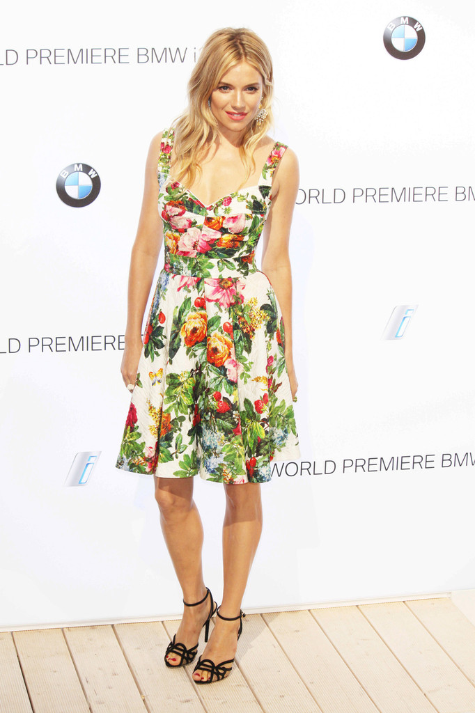 Sienna Miller Wears Dolce & Gabbana to the BMW i3 Party in London