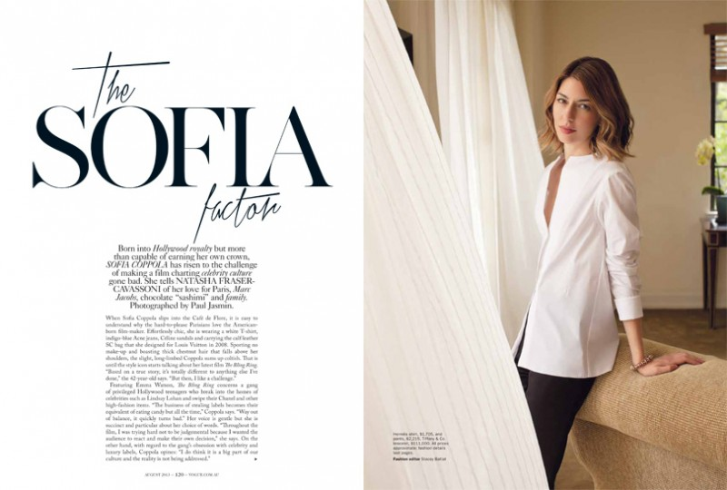 sofia coppola shoot1 800x540 Sofia Coppola Models for Vogue Australia August 2013 by Paul Jasmin