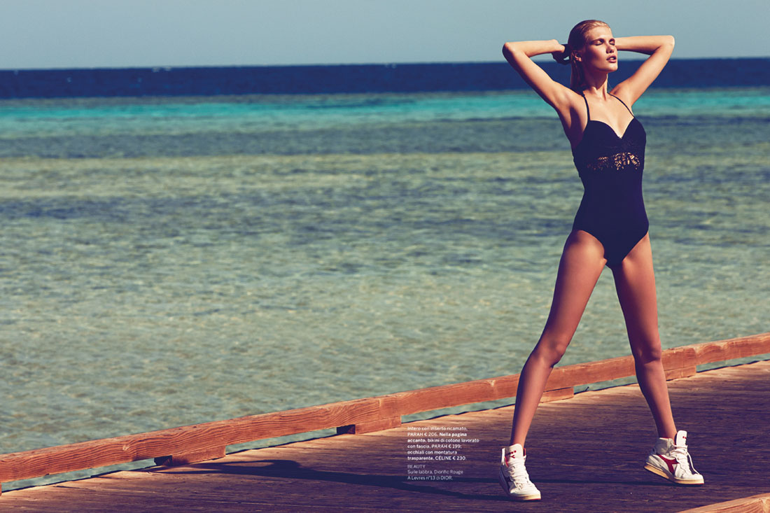 yulia swim4 Yulia Terentieva Hits the Beach for Gioia Magazine by Alvaro Beamud Cortes