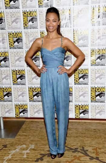 Zoe Saldana Wears Balmain to 2013 Comic-Con in San Diego