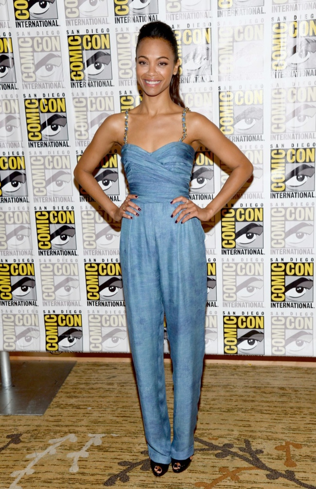Zoe Saldana Wears Balmain to 2013 Comic-Con in San Diego