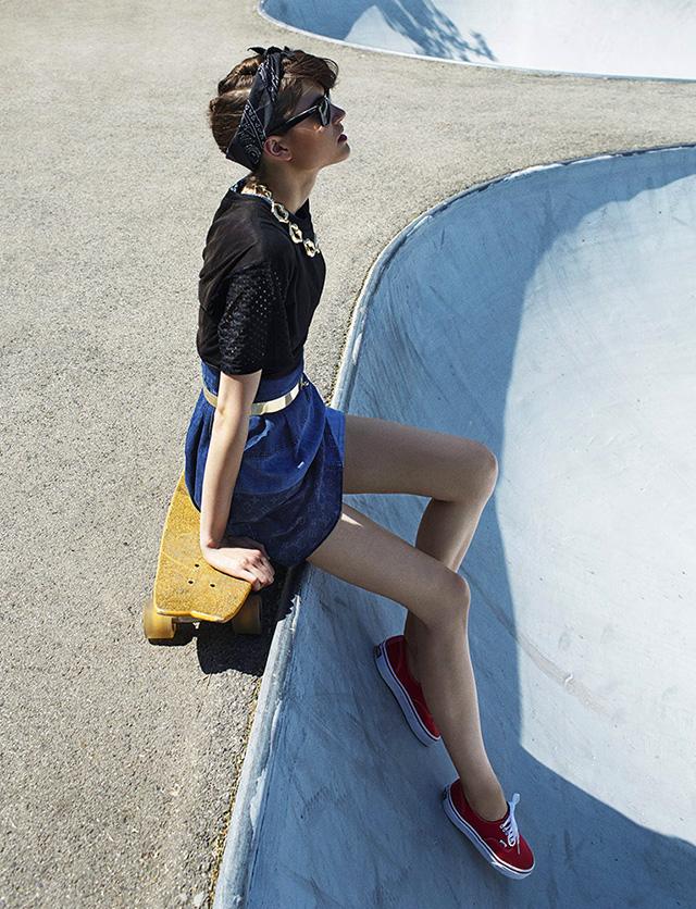 Kate Kondas is a Skater Chick for Elle Hungary by Zoltan Tombor