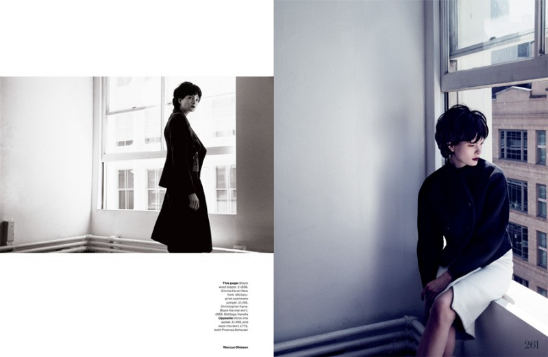 MO elleuk 3 800x522 Irina Kulikova is Retro in the City for Elle UK by Marcus Ohlsson