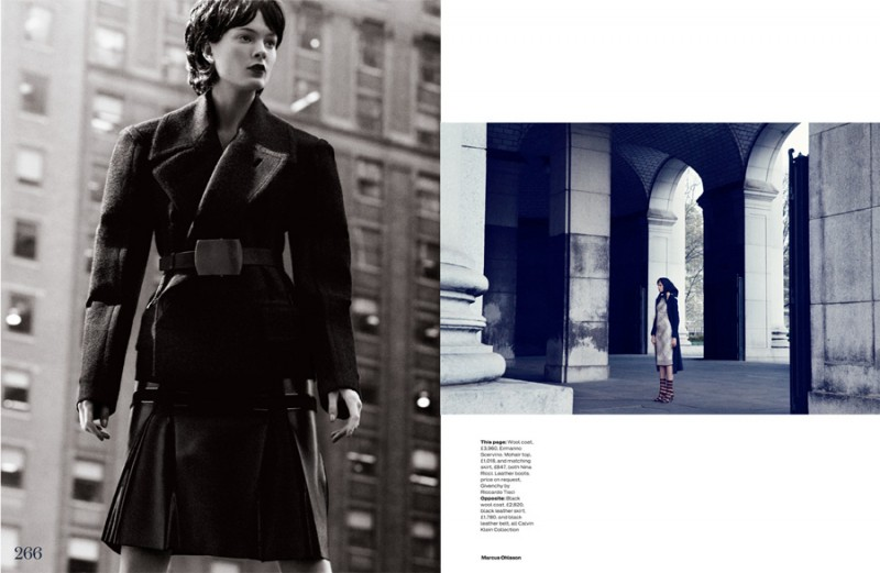 Irina Kulikova is Retro in the City for Elle UK by Marcus Ohlsson