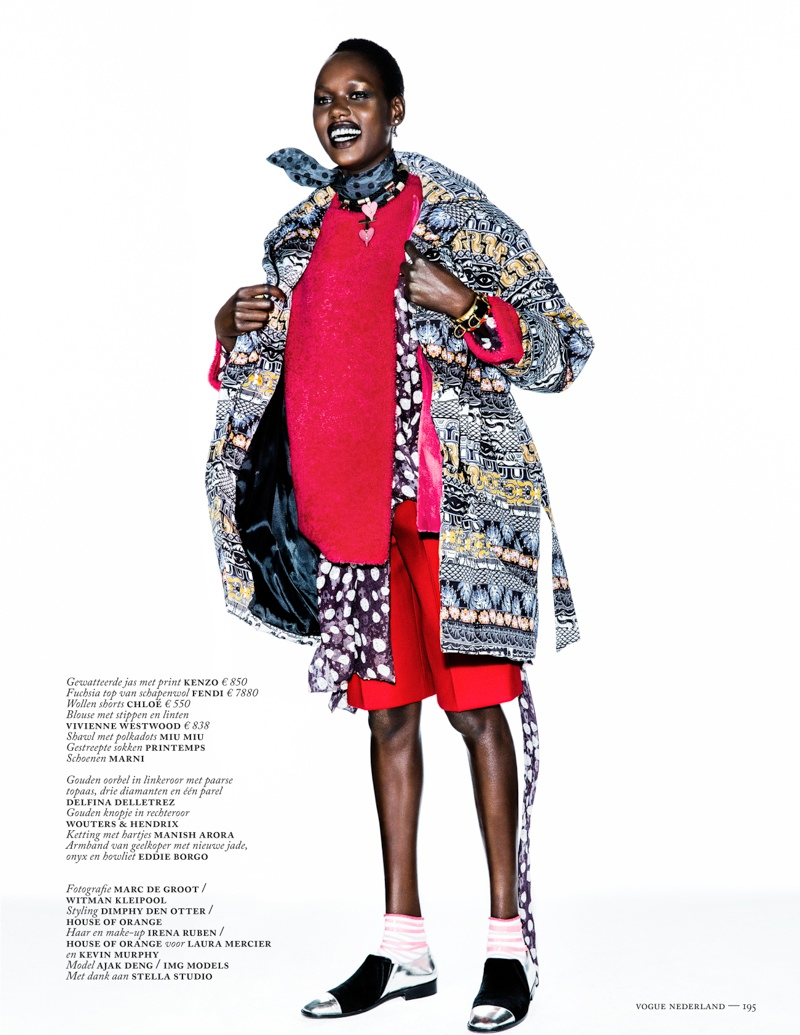 ajak deng model10 Ajak Deng Models Fall Brights for Vogue Netherlands by Marc de Groot