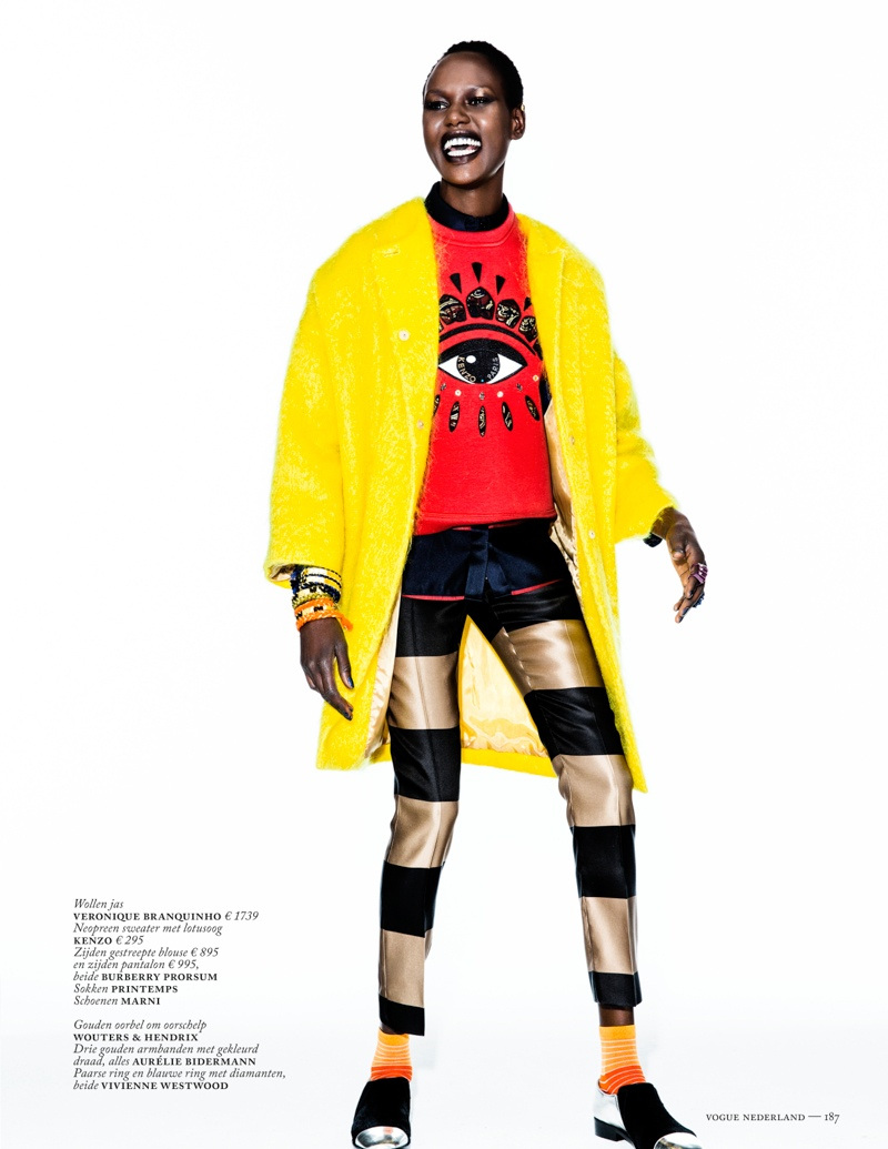 ajak deng model2 Ajak Deng Models Fall Brights for Vogue Netherlands by Marc de Groot