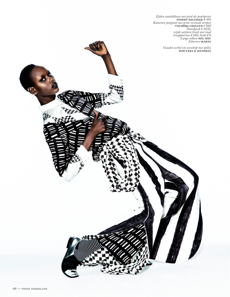 ajak deng model3 Ajak Deng Models Fall Brights for Vogue Netherlands by Marc de Groot
