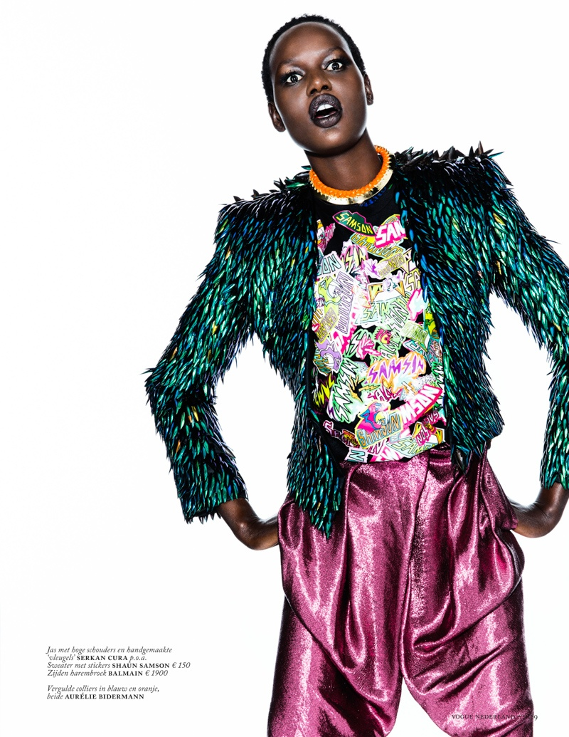 ajak deng model4 Ajak Deng Models Fall Brights for Vogue Netherlands by Marc de Groot
